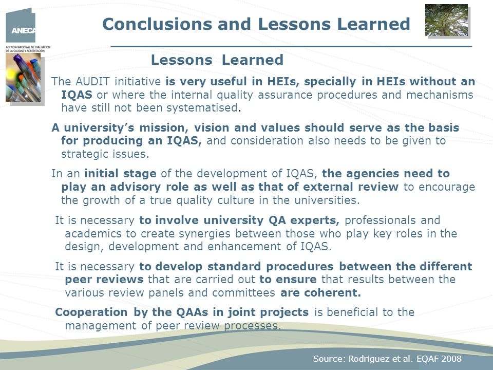 Conclusions and Lessons Learned