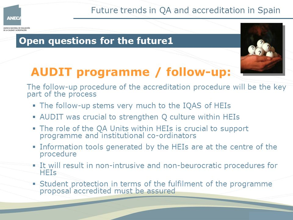 AUDIT programme / follow-up: