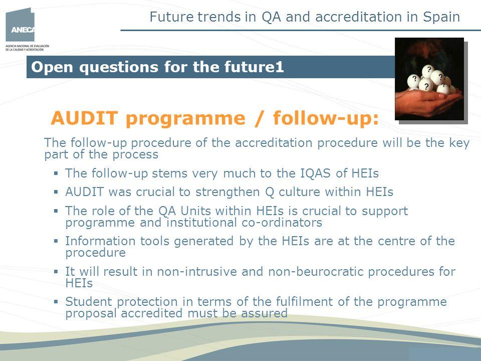 AUDIT programme / follow-up: