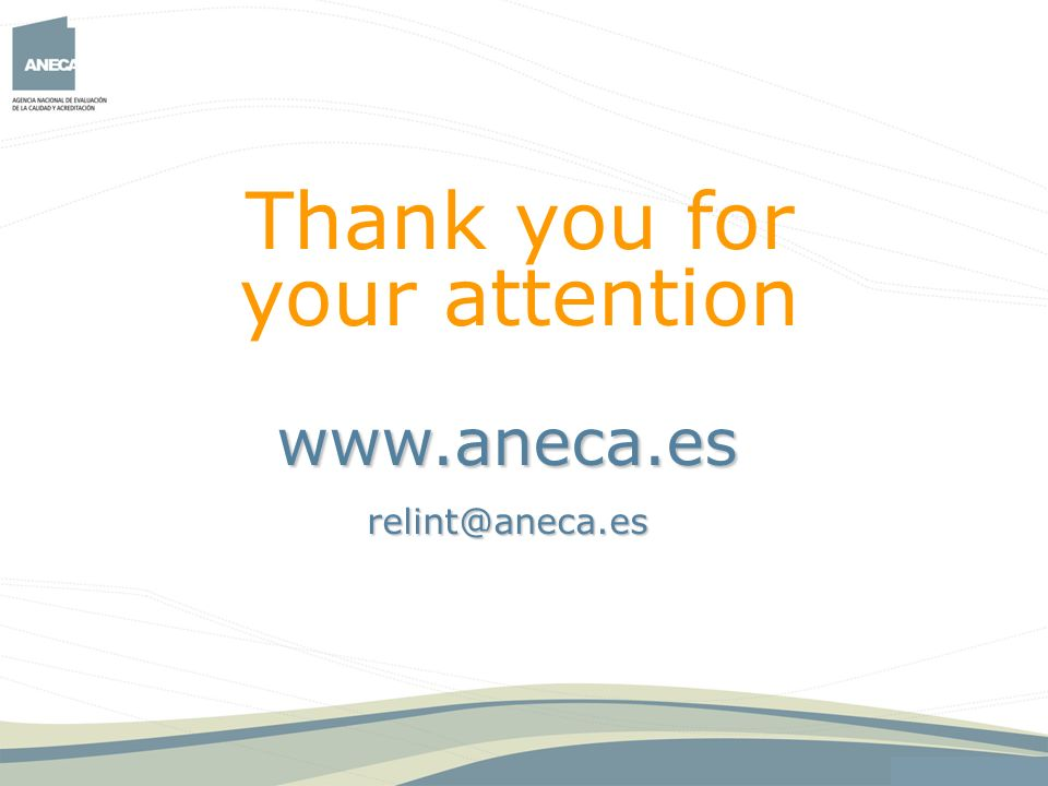 Thank you for your attention www.aneca.es relint@aneca.es 47