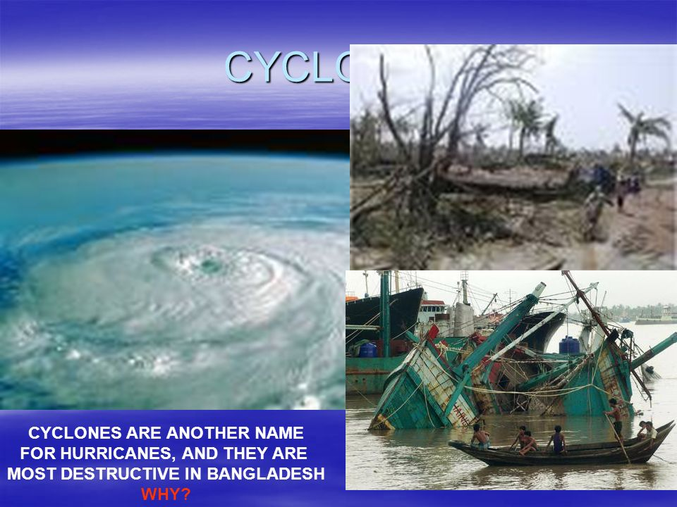 CYCLONES CYCLONES ARE ANOTHER NAME FOR HURRICANES, AND THEY ARE