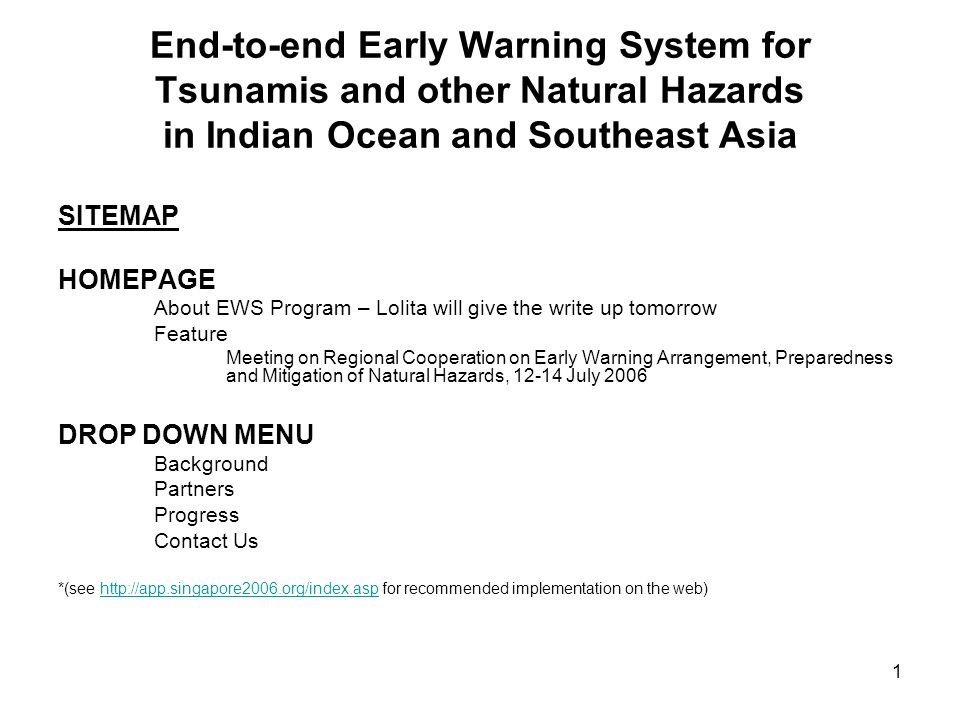 End-to-end Early Warning System for Tsunamis and other Natural Hazards in Indian Ocean and Southeast Asia