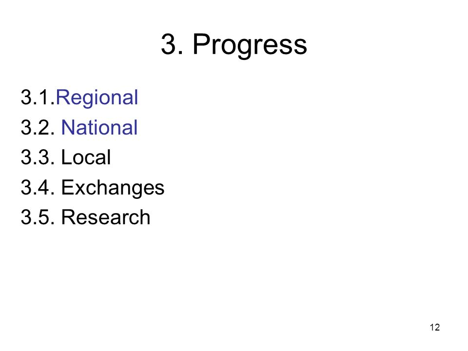 3. Progress 3.1.Regional 3.2. National 3.3. Local 3.4. Exchanges