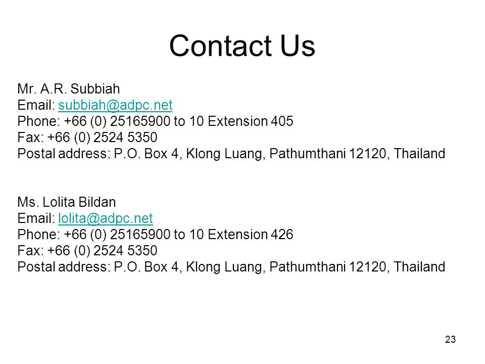 Contact Us Mr. A.R. Subbiah