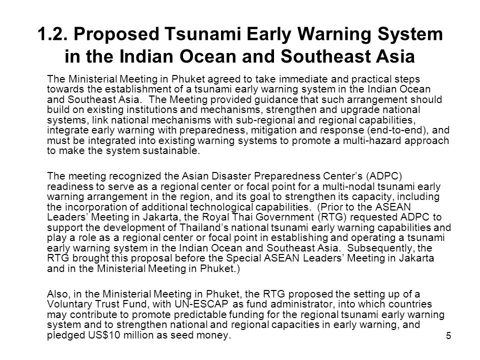 1.2. Proposed Tsunami Early Warning System in the Indian Ocean and Southeast Asia