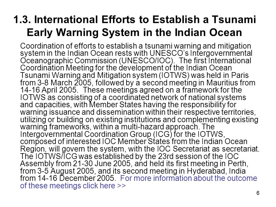 1.3. International Efforts to Establish a Tsunami Early Warning System in the Indian Ocean
