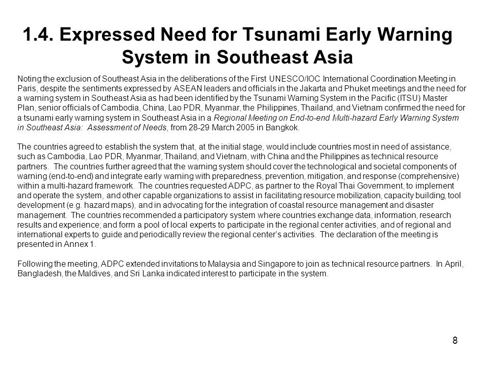1.4. Expressed Need for Tsunami Early Warning System in Southeast Asia