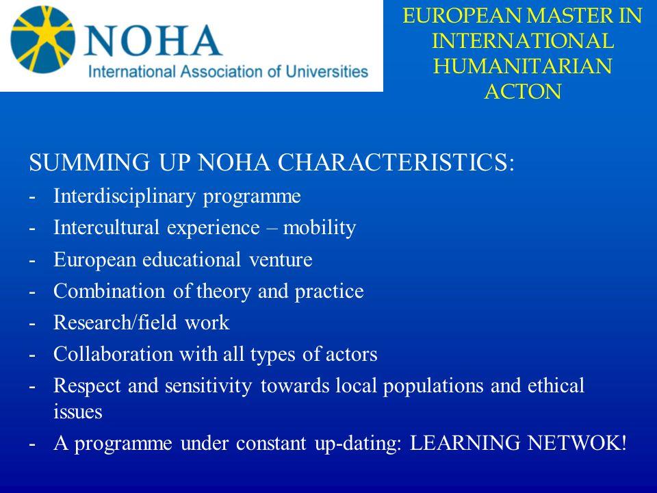 EUROPEAN MASTER IN INTERNATIONAL HUMANITARIAN ACTON
