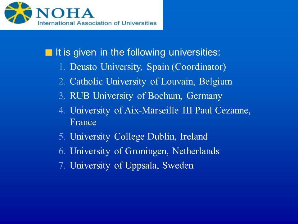 It is given in the following universities: