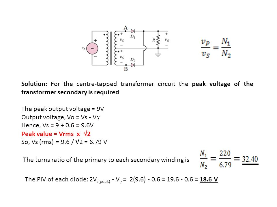how to find peak secondary voltage