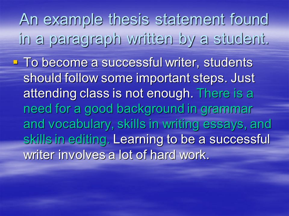 Essay Thesis Examples