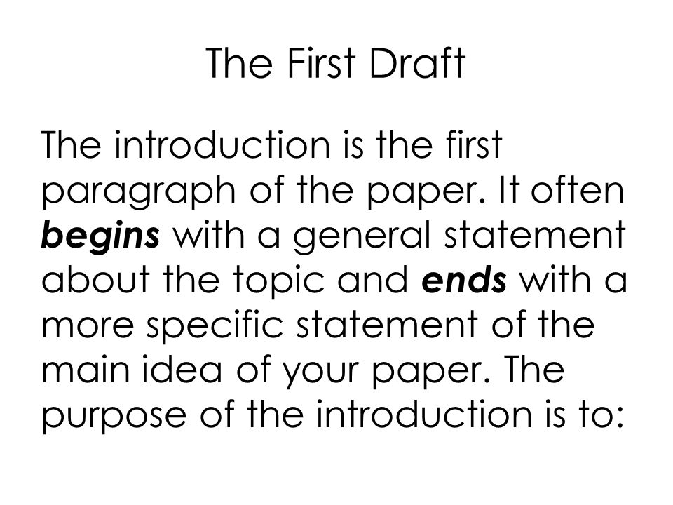 The First Draft