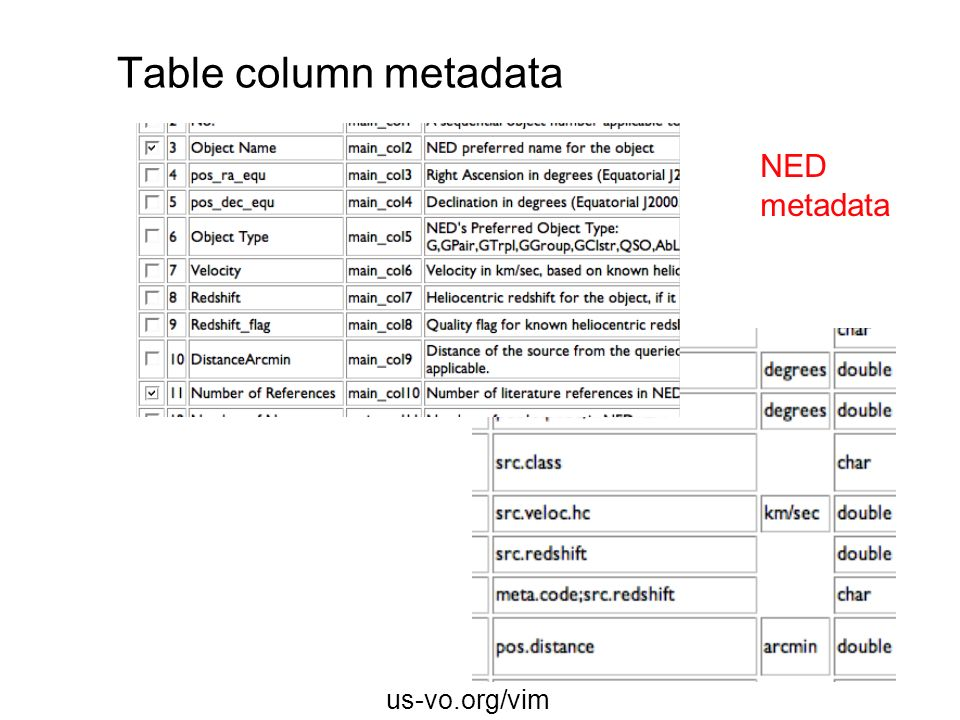 Table column metadata NED metadata