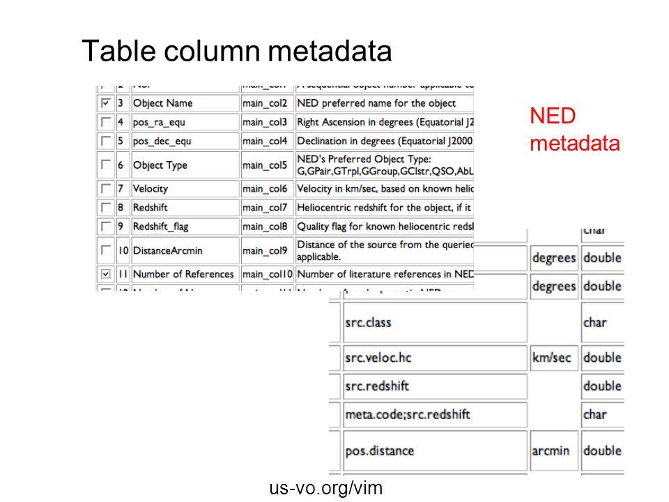 Table column metadata NED metadata