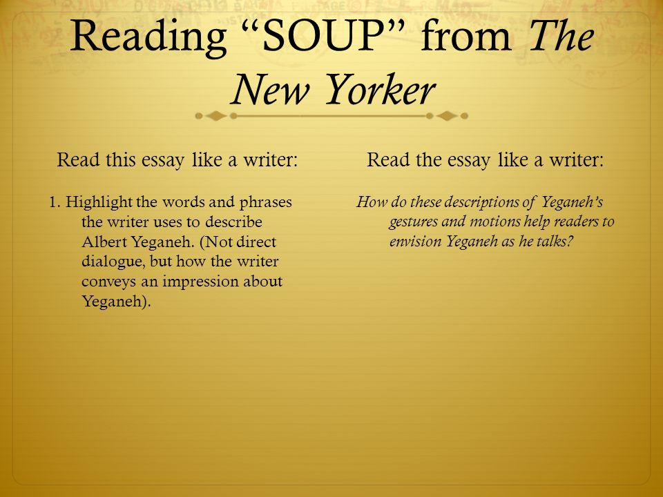 Soup essay new yorker