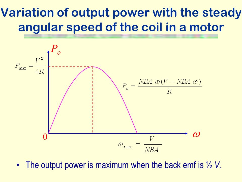 Variation of output power with the steady angular speed of the coil in a motor