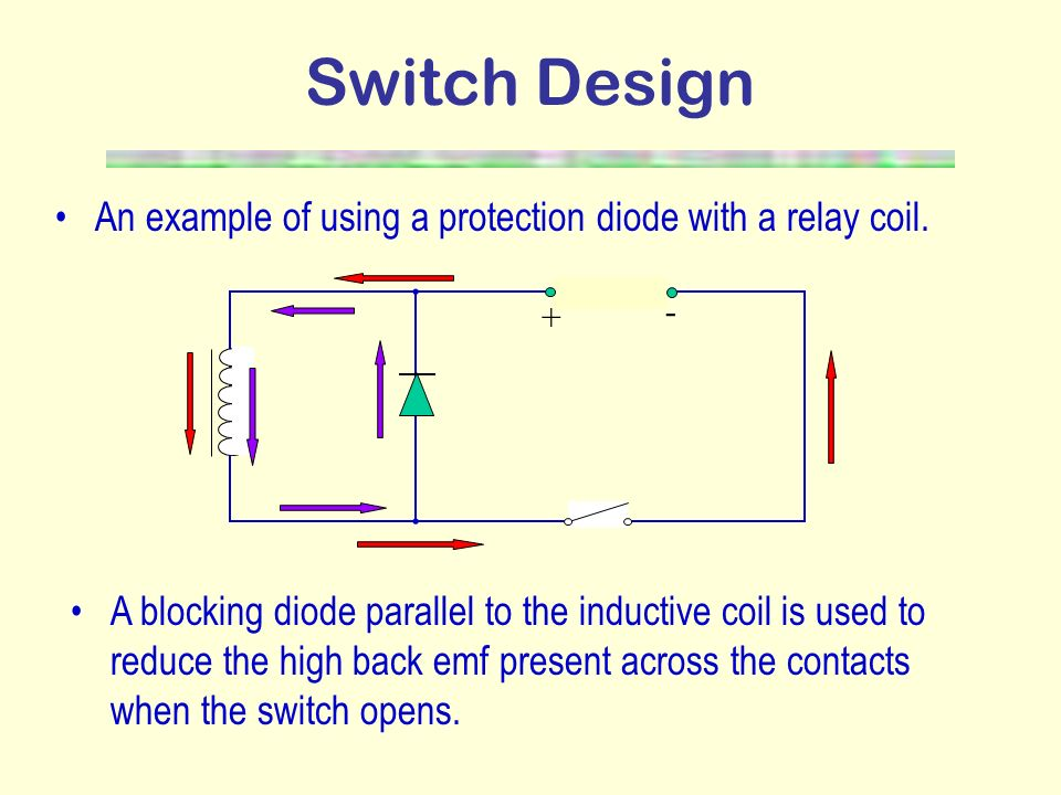 Switch Design An example of using a protection diode with a relay coil. + -