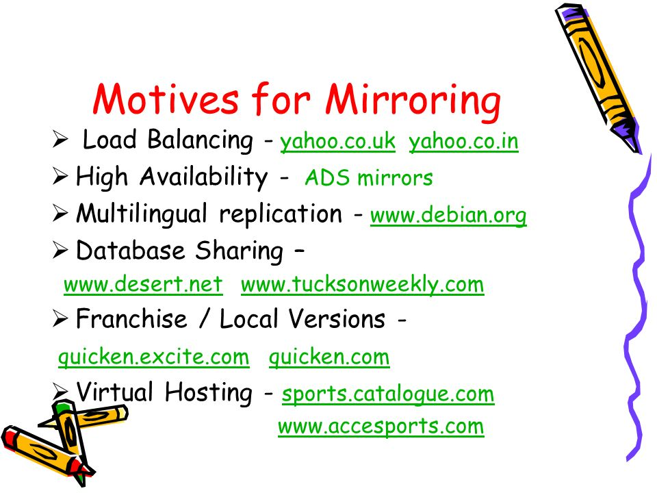 Motives for Mirroring Load Balancing - yahoo.co.uk yahoo.co.in
