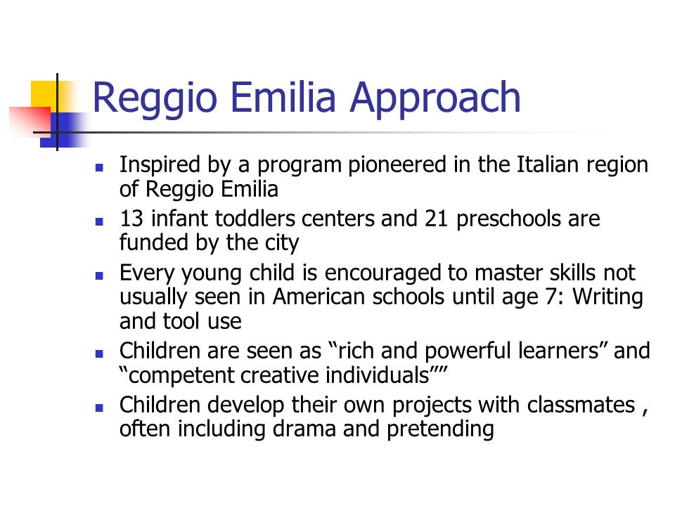 """reggio emilia approach1 The study investigated the """"hundred languages of deaf children"""" (malaguzzi, 1993) in two schools using the reggio emilia approach to early childhood education, which originated in italy."""