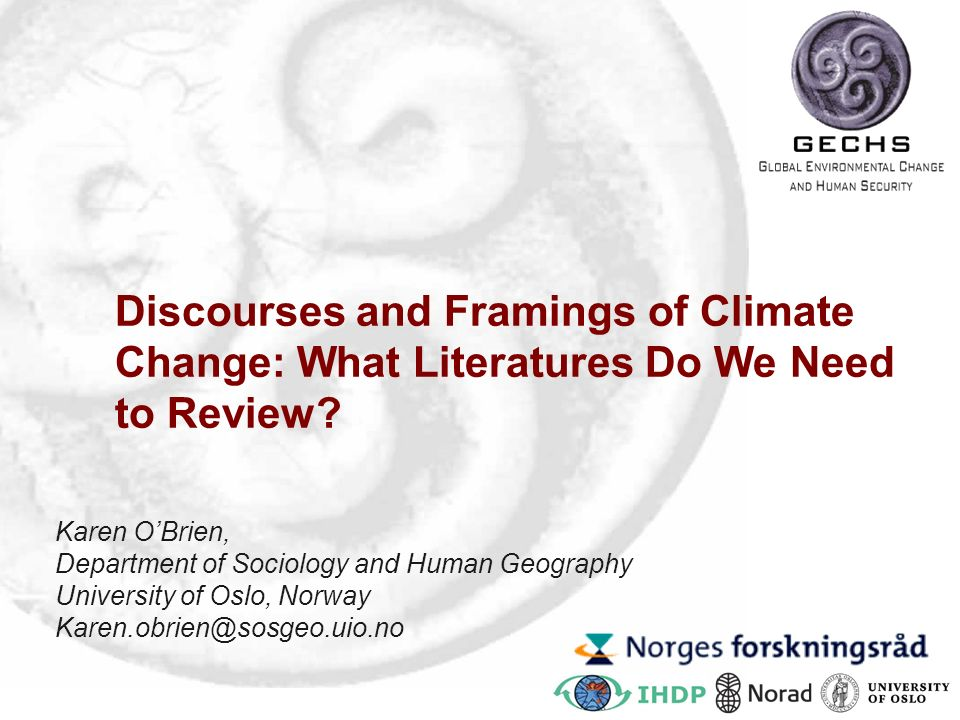 Discourses and Framings of Climate Change: What Literatures Do We Need to Review