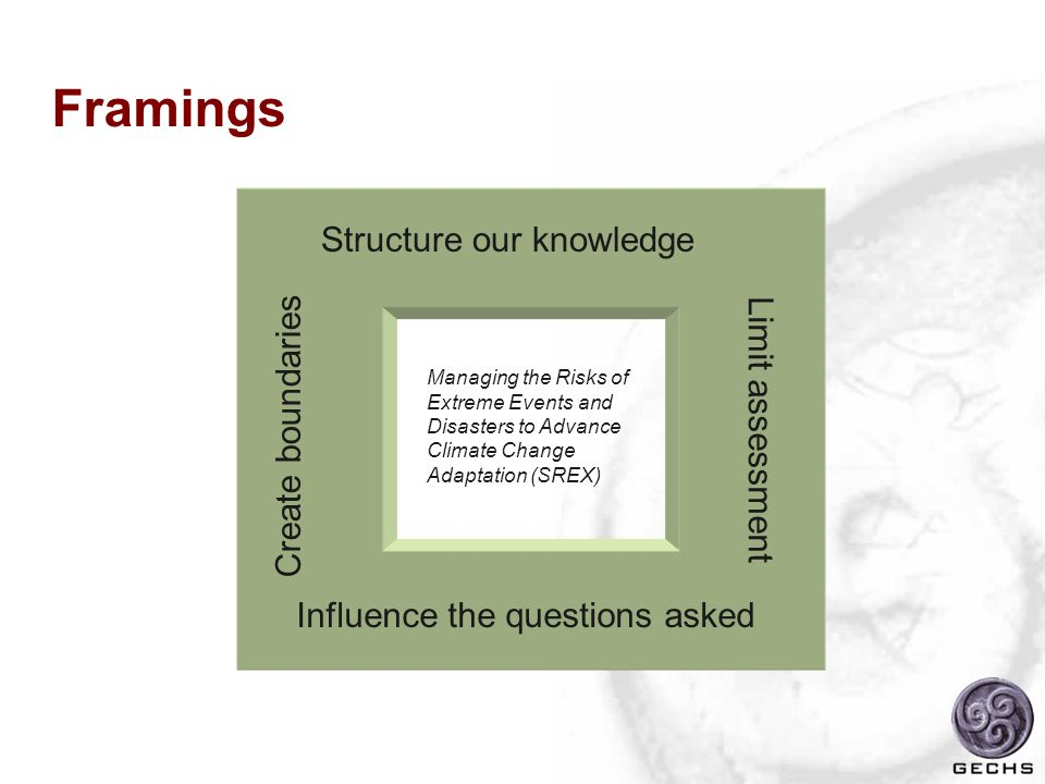 Framings Structure our knowledge Create boundaries Limit assessment