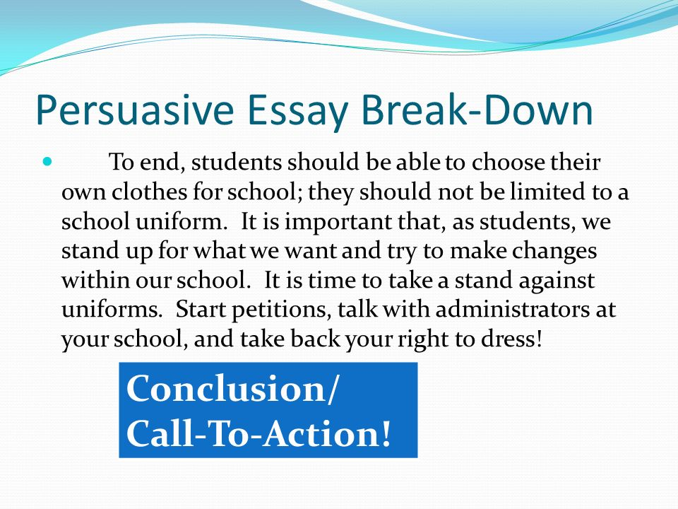 a break down of each required piece ppt persuasive essay break down