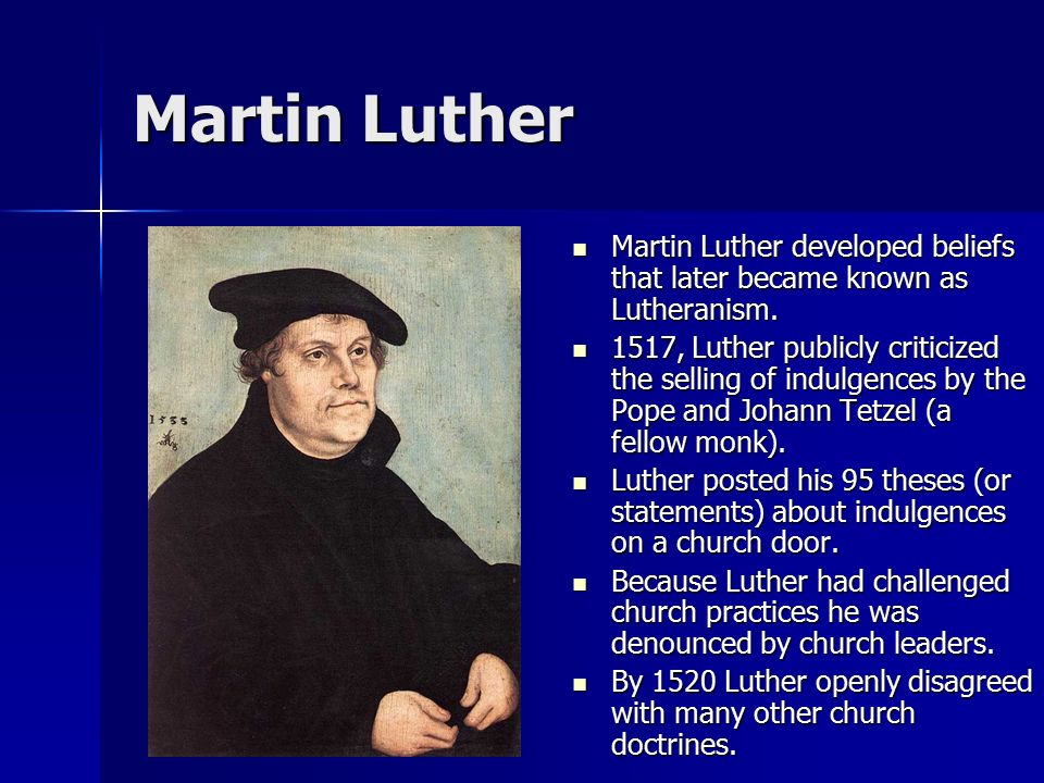 luthers thesis Study guide for the disposition of doctor martin luther on the power and efficacy of indulgences more commonly known as the ninety-five theses, prepared by lyman baker, department of english, at kansas state university.