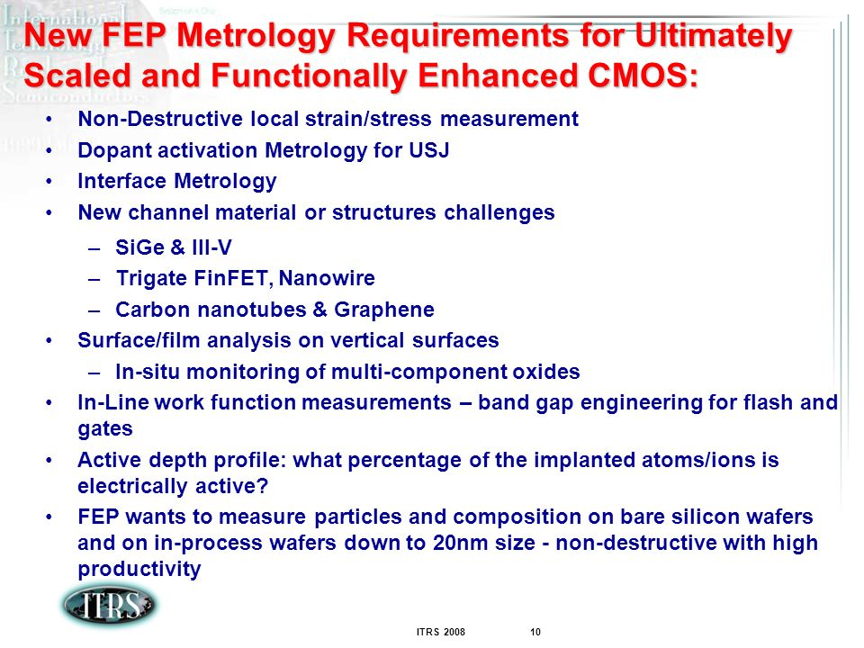 New FEP Metrology Requirements for Ultimately Scaled and Functionally Enhanced CMOS: