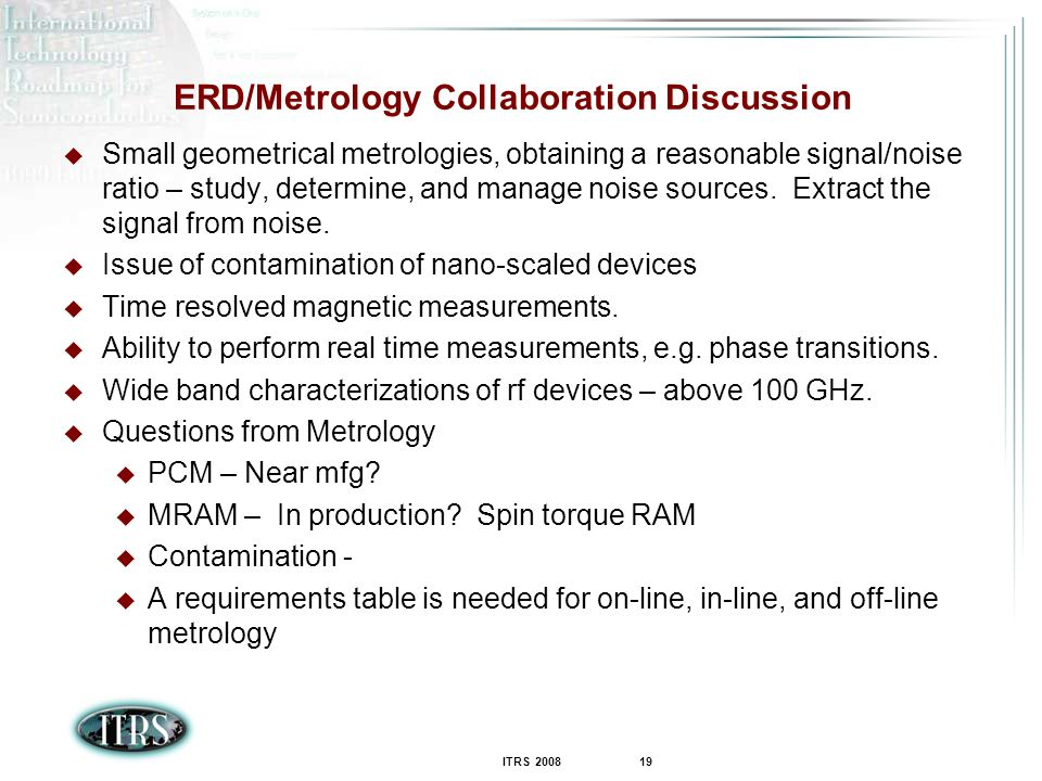 ERD/Metrology Collaboration Discussion
