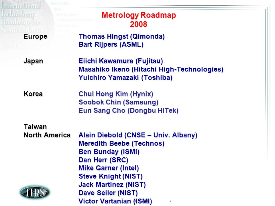 Metrology Roadmap 2008 Europe Thomas Hingst (Qimonda)