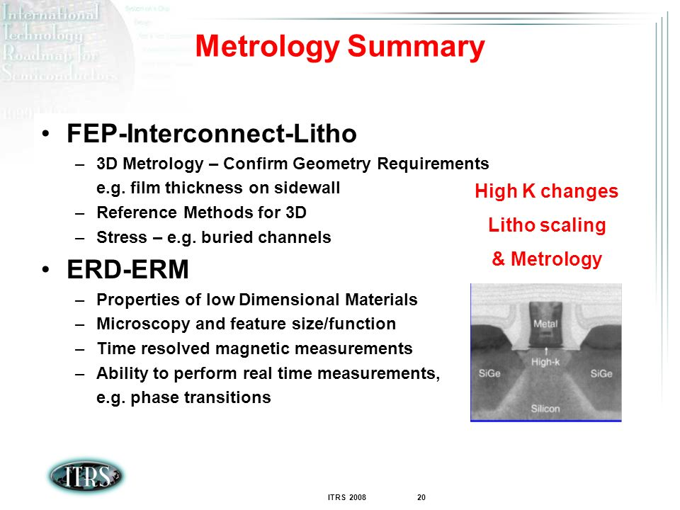 Metrology Summary FEP-Interconnect-Litho ERD-ERM High K changes