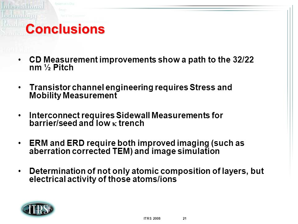 Conclusions CD Measurement improvements show a path to the 32/22 nm ½ Pitch. Transistor channel engineering requires Stress and Mobility Measurement.
