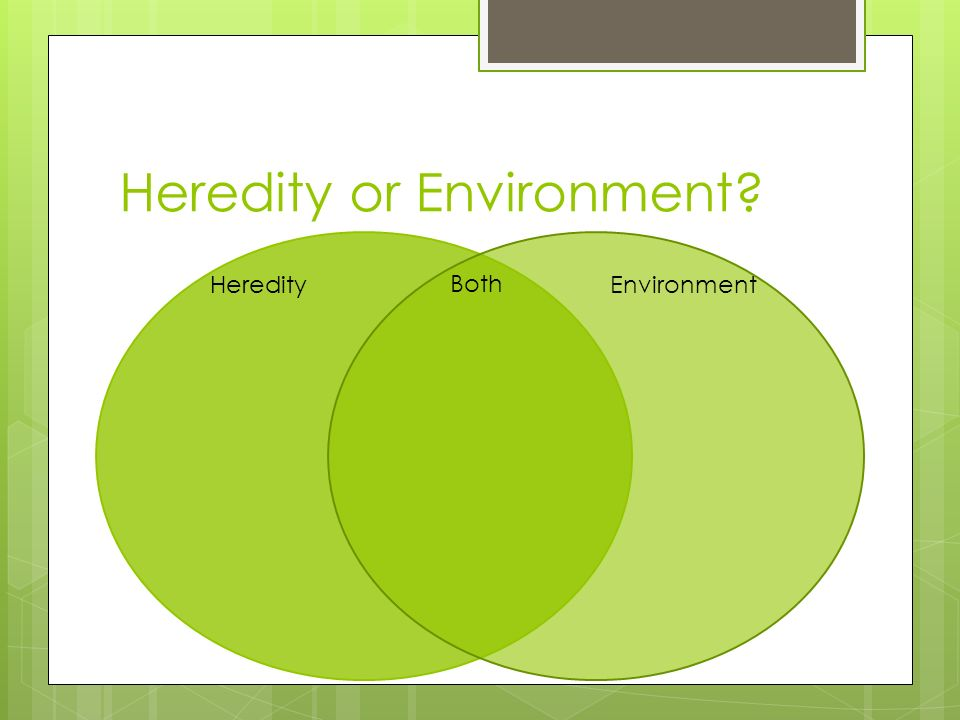heredity and environment influence development Environmental influences on  between genetic and environmental aspects where susceptible  cumulative in its ability to influence development and .