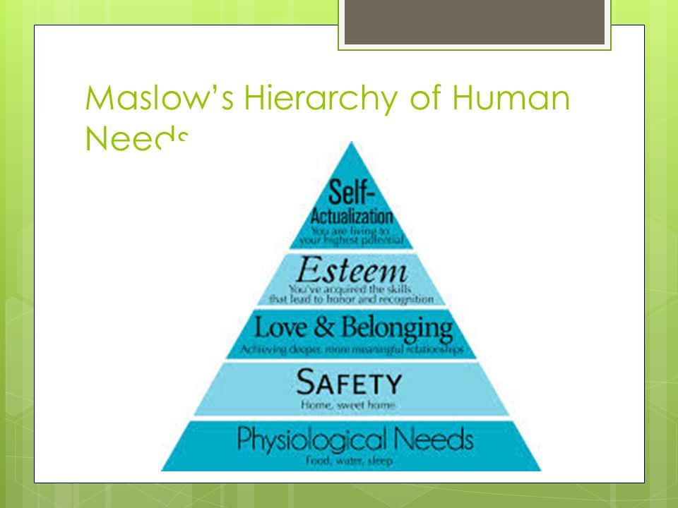 hirrarchy of human need Maslow's hierarchy of needs is a description of the needs that motivate human behavior in 1943, abraham maslow proposed five different kinds of human needs, beginning with the most basic: survival physiological needs, such as food and shelter, are followed by needs related to safety.