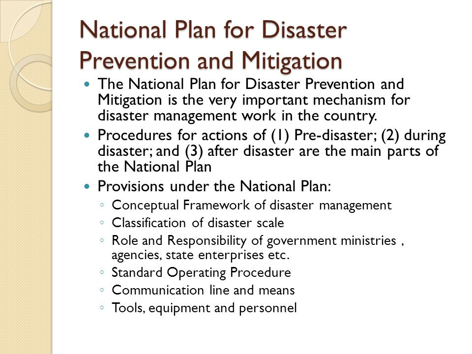 National Plan for Disaster Prevention and Mitigation