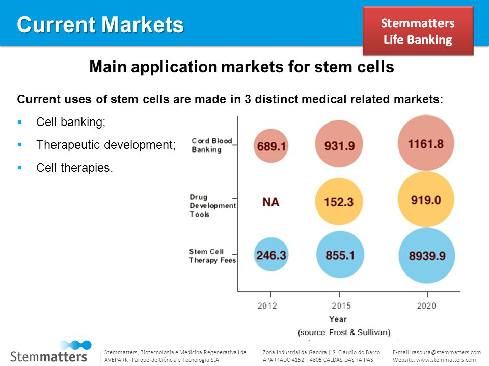 Main application markets for stem cells