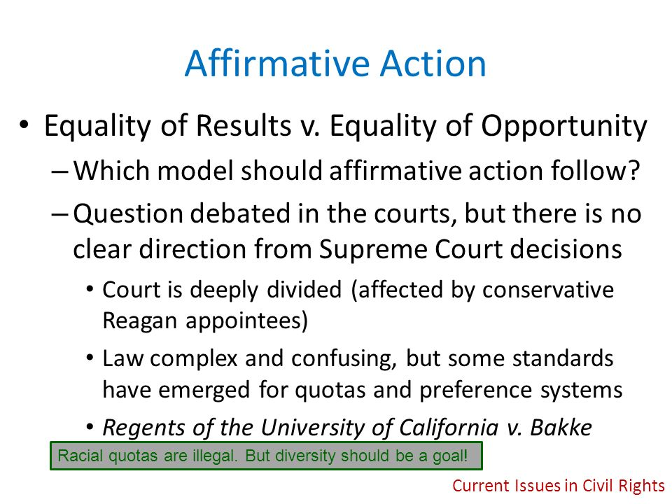 affirmative action should be eliminated in the united states Universities across the united states had already been admitting blacks for years  affirmative action should be eliminated (sadler 70.