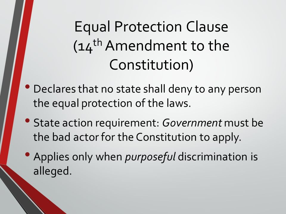 History of Equal Protection and the Levels of Review