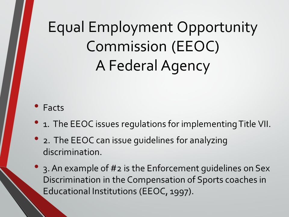 equal employment opportunity commission essay Information on the us equal employment opportunity commission (eeoc) which is a federal agency that enforces laws prohibiting job discrimination.