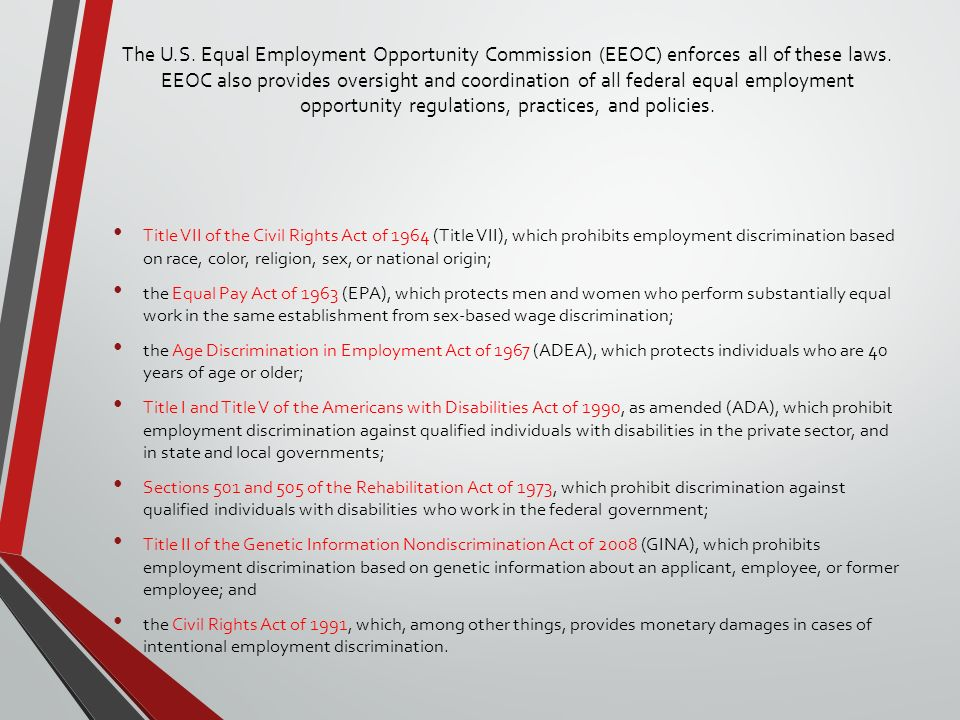 Equal employment opportunity laws in pakistan, Coursework