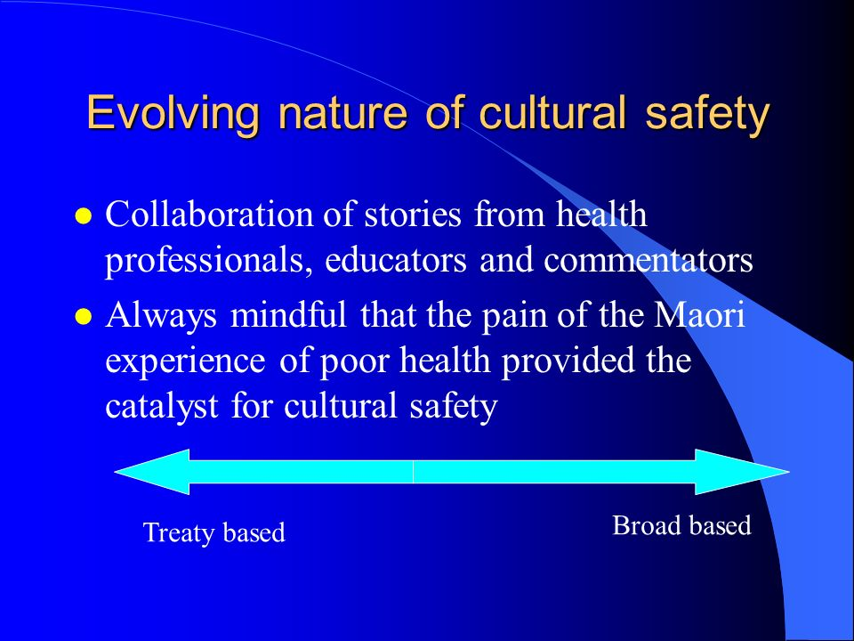 Evolving nature of cultural safety