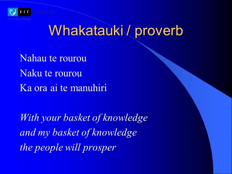 Whakatauki / proverb Nahau te rourou Naku te rourou