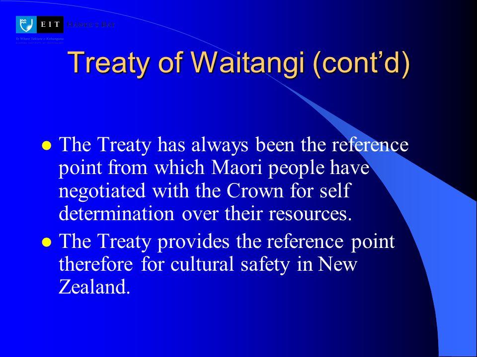 Treaty of Waitangi (cont'd)