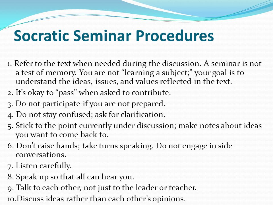 "socratic seminar questions 1 Answers to three kinds of questions: ""harrison bergeron"" exercise 1  note:  during socratic seminar day(s), in a full ninety-minute period, four pairs of."