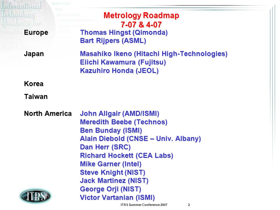 Metrology Roadmap 7-07 & 4-07 Europe Thomas Hingst (Qimonda)