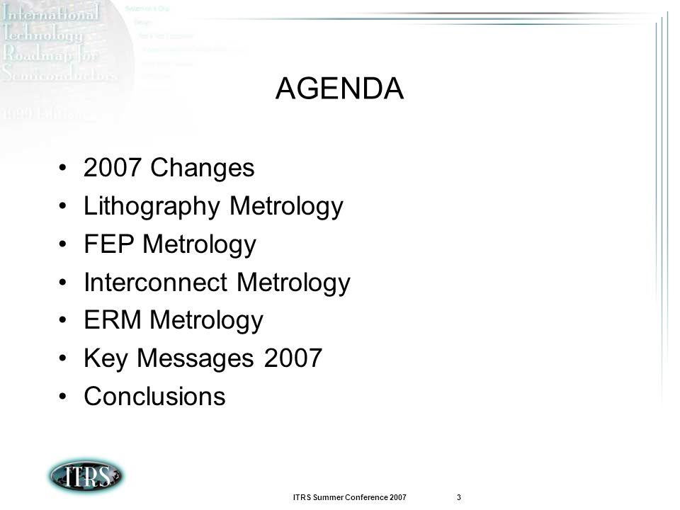 AGENDA 2007 Changes Lithography Metrology FEP Metrology