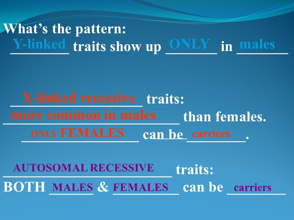 ________ traits show up _______ in _______