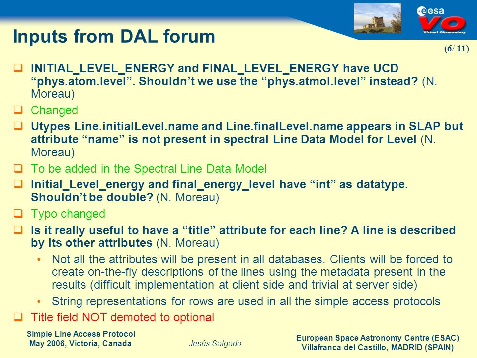 Inputs from DAL forum