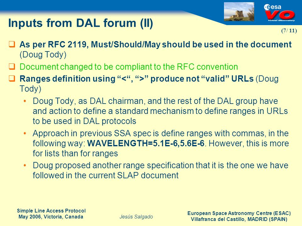 Inputs from DAL forum (II)