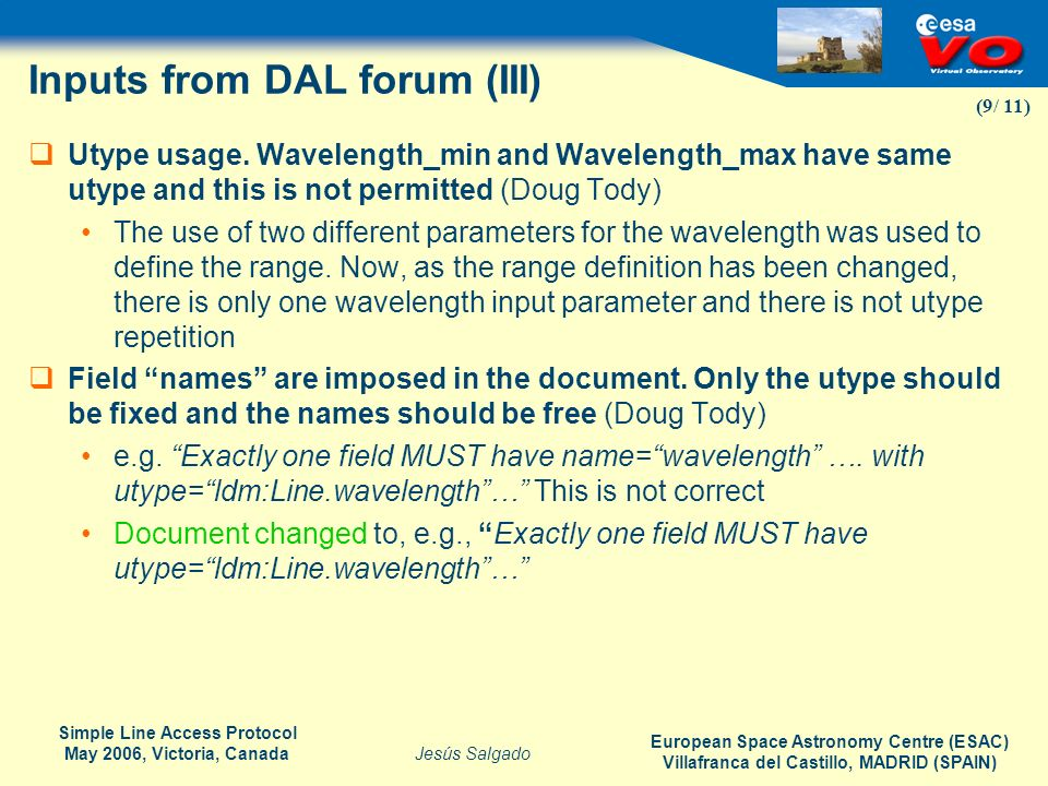 Inputs from DAL forum (III)